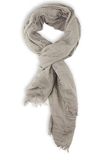 fashionchimp ® BASIC-Schal für Damen in angesagten Trendfarben und weichem Fransensaum (Taupe)