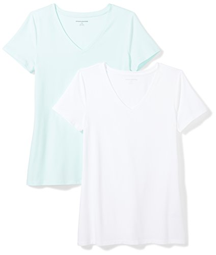 Fashion Shopping Amazon Essentials Women's 2-Pack Classic-Fit Short-Sleeve V-Neck T-Shirt