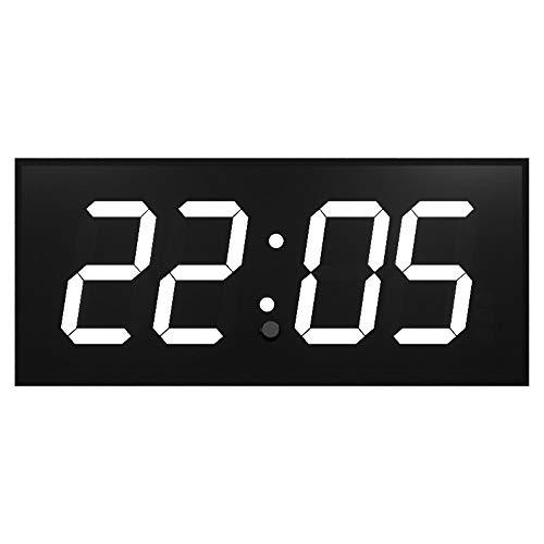 Timer evento Orologio da parete LED Digitale Multifunzione Telecomando su due lati for conto alla rovescia Temperatore digitale bianco su sfondo nero ( Colore : Nero , Dimensione : 51.8X21X2.7CM )