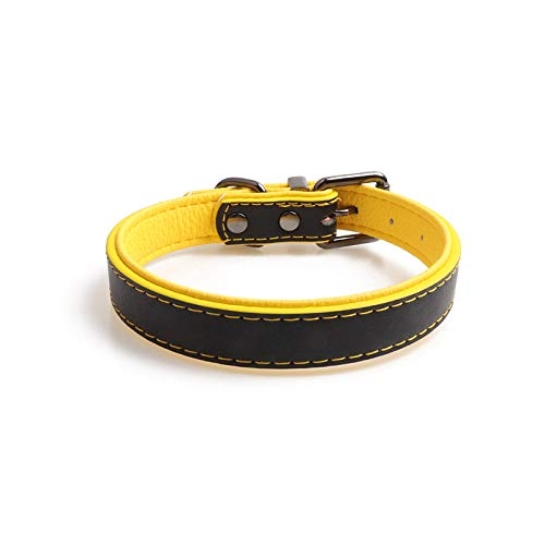 Gentleman hondenhalsband, zwart, groot, van leer, hondenhalsband van zacht kluis, hondenhalsband voor alle seizoenen, ademend, zacht gevoerd, licht, gezellig, voor buiten, 2.0*40cm
