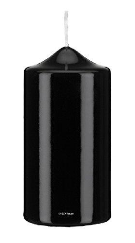 Gelackte Kerzen Stumpenkerzen Klarlack - hochglänzend Schwarz 20 x 8 cm, 2 Stück, Exclusive besondere Kerzen