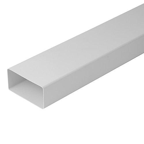 Lüftungskanal Flachkanal Rohrkanal Rundkanal Lüftungssystem Abluftkanal Flachkanalsystem für Dunstabzugshaube Bogen T-Stück Umlenkstück 110x55mm 220x55mm DN100 DN125 (220x55mm Flachkanal 1,0m)