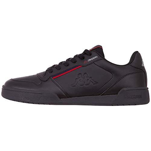 Kappa MARABU Sneaker für Frauen & Männer | Damen & Herren Sportschuhe mit Kappa-Logoprägung und farbigen Applikationen | pflegeleichte Begleiter zu vielen Outfits | schwarz, Größe 46 EU