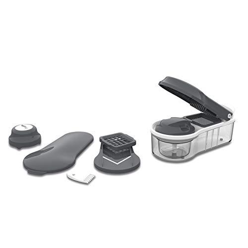 MAXXMEE Multi-Schneider Chop'n Slice Plus 12-TLG. | Gemüseschneider, Klingen aus Edelstahl, Chopper zum Häckseln, mit Aufbewahrungsbehälter | Allesschneider [grau/weiß]