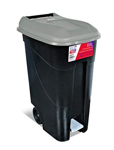 Réservoir de 80 litres avec pédale, base noire et couvercle bleu