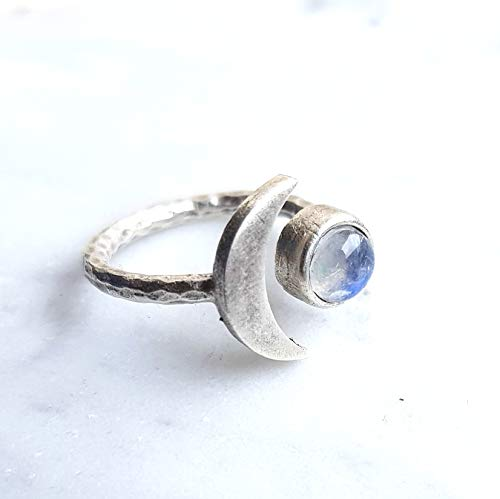 Crescent moon Ring - Silver rainbow moonstone natural gemstone ring for women ADJUSTABLE