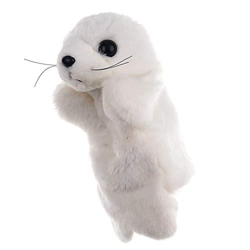 Entzückender Cartoon Seelöwe Handpuppe Kinder Handschuh Plüsch Finger Bildung Spielzeug (Weiß, 26 cm)