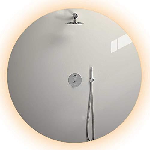 Mirror-Smart LED-Badezimmerspiegel, wandrunder Duschspiegel, HD-Spiegel, explosionsgeschütztes Entnebeln, Zeit und Temperatur, Berührungsschalter/A / 80cm