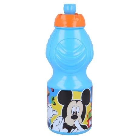 Borraccia Sport in plastica Bottiglia per Bambini 400ML con beccuccio retraibile (Mickey Topolino)