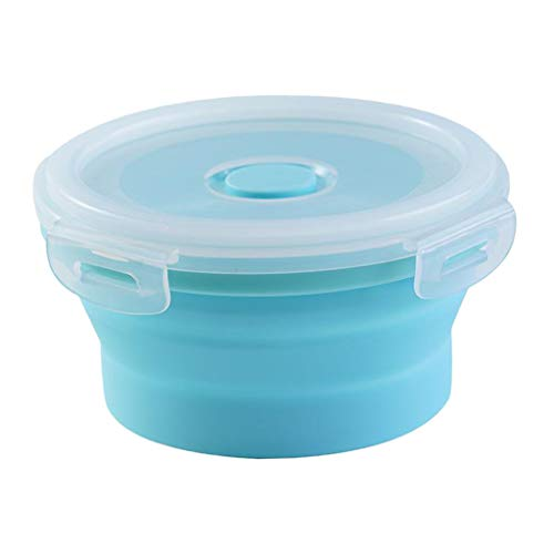 #N/A Round Food Container Storage Collapsible Camping Bowl Microwave Refrigerator - Multicolor, XL 1200ML blue