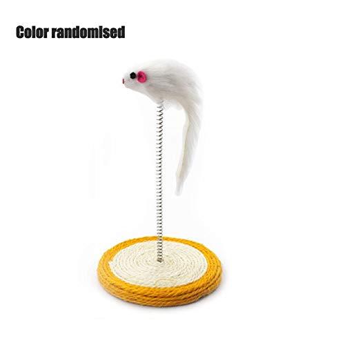 Zufällige Farbe Elektrische Fisch Katzenspielzeug,Feder Lustige Katzenmäuse Form Falsche Maus Haustierprodukte Bottom Sucker Elastic Toys zum Beißen,Kauen und Treten von Hauskatzen Haustiere Kätzchen
