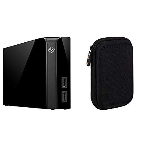 Seagate Backup Plus Hub, Unità Disco Esterna per Desktop da 8 TB, USB 3.0, per PC Desktop, Workstation & Amazon Basics Custodia per Hard Drive esterno
