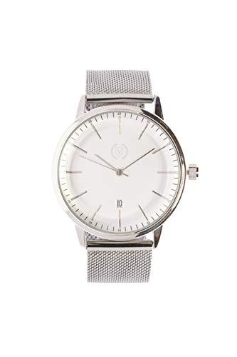 Silver Steel (Reloj analógico para Hombre, Cuarzo, Correa Malla de Acero, Acero Inoxidable, Función Calendario) Watch Business Elegantes, Tendencia, Casual Relojes de Pulsera Regalo