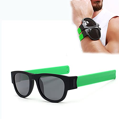 YYMM Gafas de Sol Plegables, Pulsera pulverizada polarizada Hombres Gafas de Sol Gafas de Sol Wristeband Outdoor Wraparound Sunglass, para Viaje de Viaje