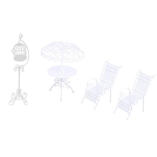 T TOOYFUL 1/12 Doll House Miniature Garden Furniture Sedie da Tavolo in Metallo Birdcage Bianco