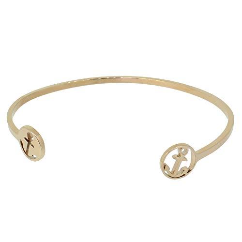 Hafen-Klunker Anker Armreif - Damen Edelstahl Armband Rosegold mit ausgestanztem Anker - Größenverstellbares Damenarmreif in Geschenkbox u. einzigartigem Design