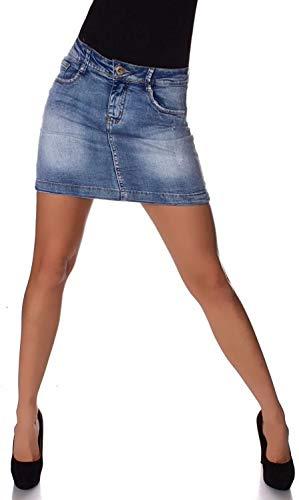 Fashion4Young 11157 Damen Jeansskirt Jeansrock Minirock Jeans Mini Rock (L=40, blau)