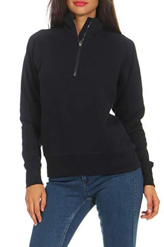 Mivaro Damen Troyer Pullover halber Reißverschluss ohne Kapuze mit Stehkragen, 1/4 Zip, Größe:M, Farbe:Dunkelblau