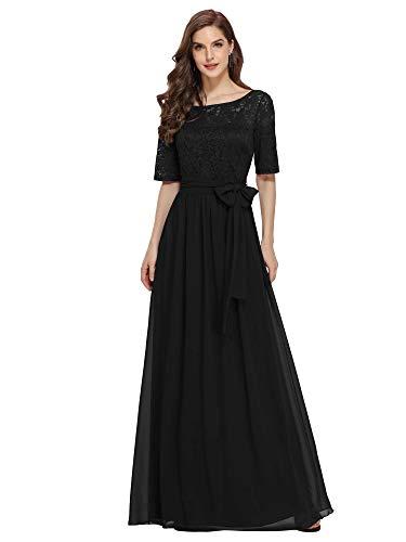 abito donna nero lungo Ever-Pretty Vestito da Cerimonia Rotondo Mezza Manica Stile Impero Linea ad A Chiffon Pizzo Taglia Grossa per Donne Lungo Abito da Damigella Nero 54EU