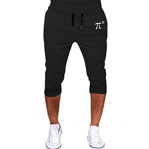 Crazboy 7/8 Hosen Herren Laufen Hip Hop Hosen Casual Sports Cropped Pant(XX-Large,Schwarz)