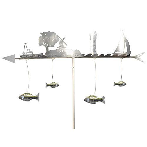"""J. Tiedemann Manufaktur & Design Wetterfahne """"Küste"""", Edelstahl wetterfest und rostfrei. Skulptur als Deko für den Garten, Terrasse und den Balkon. 160 cm hoch"""