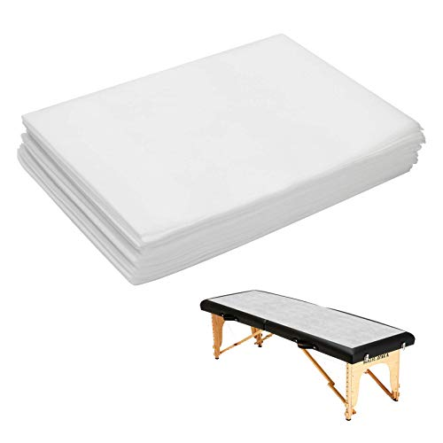 Ahier Disposable Bed Sheets, 20PCS Massage Table Sheets SPABedSheetsDisposable, White Breathable Polypropylene FabricNon Woven SPA Bed Cover 31