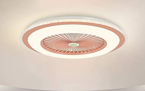 Ventilador De Techo Simplicity Con Iluminación LED De 40W Luz De Ventilador Invisible Y Ultra Silenciosa Regulación Continua De Control Remoto Y 3 Velocidades Para Sala De Estar Dormitorio,Rosado