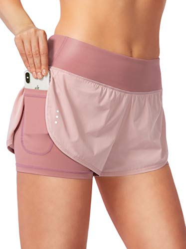 Women's 2 in 1 Running Shorts Workout Athletic Gym Yoga Shorts for Women with Phone Pockets Pink