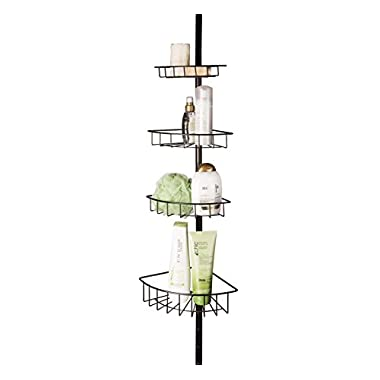 AMG and Enchante Accessories, Corner Tension Adjustable Bathroom Storage Shower Caddy, CC100002 ORB, Oil Rubbed Bronze