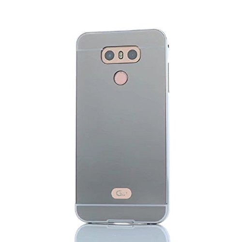 LG Q6 Metal Case with Screen Protector, ZLDECO Aluminum Metal Frame + Shiny Mirror Hard Back Hybrid Cover with Tempered Glass Screen Protector Protective for LG Q6 M700N LG Q6+ Q6? (Metal Black)