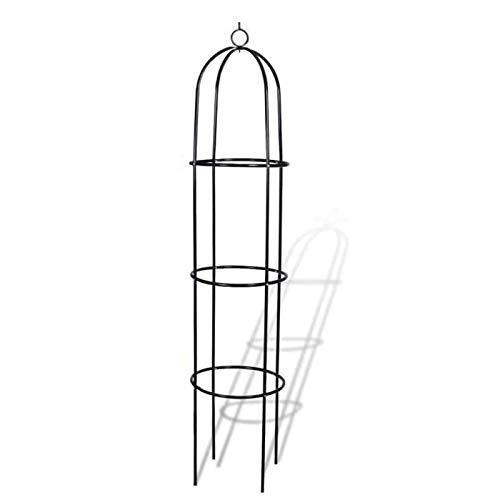 Orchid Obelisk Coated Metal 190 Cm, Obelisk Ranking Aid Spitz, Round, Independent, Rose, Tomato, Wine, Garden, Weatherproof, Green