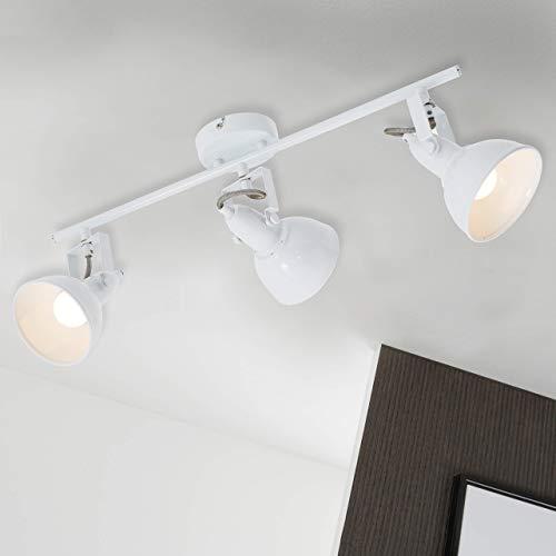 Briloner Leuchten - Deckenleuchte, Deckenlampe mit 3 dreh-und schwenkbaren Spots im Retro/Vintage Design, Fassung: E14 max. 40 Watt, Metall, Maße: 55.4x10x18.1 cm, Farbe: weiß, 55.4 x 10 x 18.1 cm