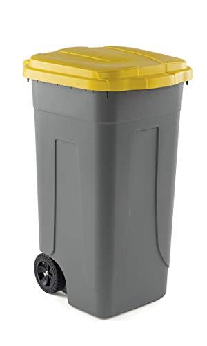 Mobil Plastic Bidone Raccolta differenziata Lt. 100 con Ruote - Fondo Grigio e Coperchio Giallo