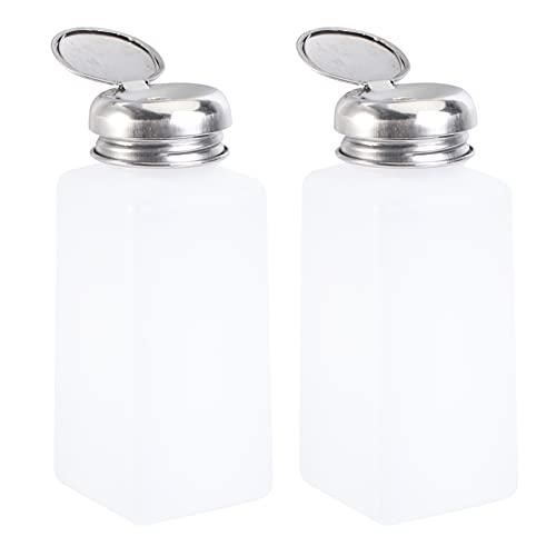 ULTECHNOVO 2pcs empuje abajo dispensador de alcohol vacío bloqueable antiestático empuje abajo botellas de plástico cuadrado, Blanco, naranja., 250 ml,