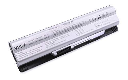 vhbw Li-ION Batterie 6600mAh (11.1V) Argent pour Laptop, Notebook Medion Akoya Mini E1311, E1312, E1315, E6313, E6315 comme BTY-S14.