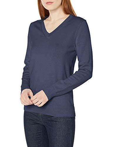 Amazon Essentials 100% Cotton Long-Sleeve V-Neck Sweater Pull, Bleu Marine, S