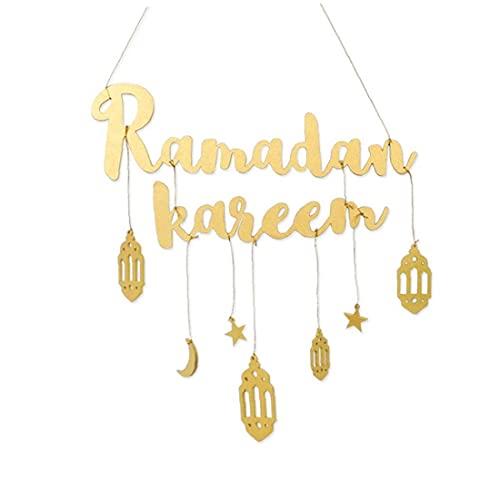 Tuimiyisou Eid Mubarak decoración de la Pared Ramadán Colgar de la Pared del Ornamento Colgante de la Placa de Madera con el patrón de la Letra de la Linterna para el hogar de Oro