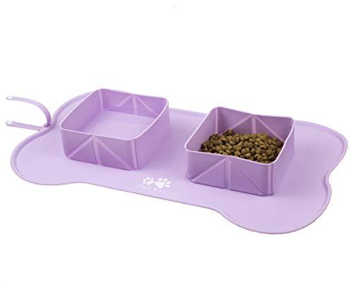 Pixie & Lu Alimenti Tappetino Antiscivolo in Silicone Impermeabile per Animali Domestici, Tappetino Sottociotola per Alimenti con Ciotole Pieghevoli da Viaggio