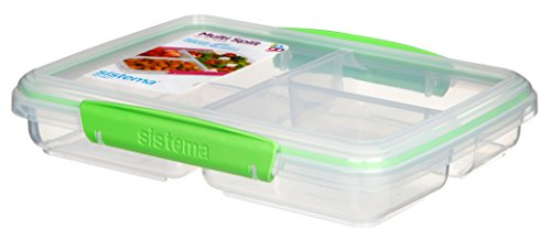 Sistema To Go Multi Split Frischhaltedose, transparent, mit farbigen Clips, 820 ml