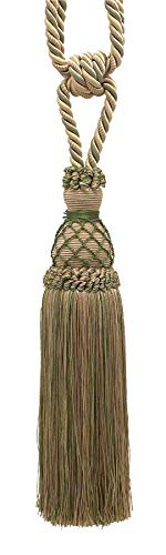 DÉCOPRO Elegant Olive Green, Champagne Curtain & Drapery Tassel Tieback, 25cm Tassel, 77cm Spread (Embrace), 10mm Cord, TBIN-1 Color: SAGEGRASS 4567