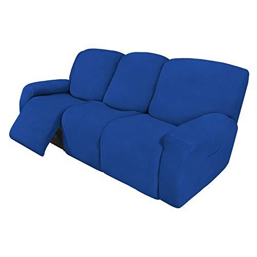 Easy-Going 8 piezas de sofá reclinable elástico funda de sofá protector de muebles sofá sofá sofá suave con parte inferior elástica para niños, tela jacquard de licra, cuadros pequeños azul clásico