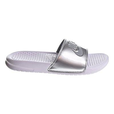 Nike Women's Benassi Just Do It Sandals, White/Wolf Grey/Metallic Silver, 9