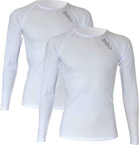 Pack x2ud Camiseta Interior Deportiva EKEKO WARMRACE JHKACTIVE. Camiseta Interior de Manga Larga .Poliester termoactive. (XL, Blanco)