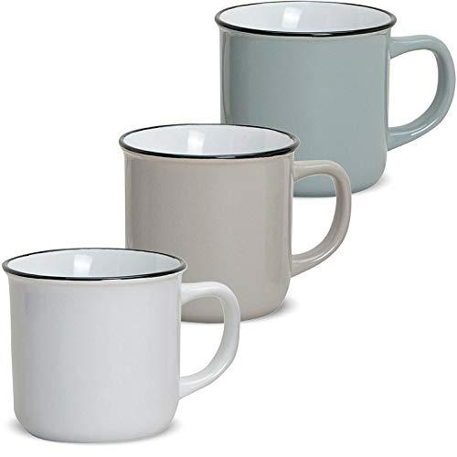 matches21 Tassen Becher Kaffeebecher Emaille-Optik Kaffeetassen Email-Optik 3-tlg. Set Keramik 9 cm / 300 ml