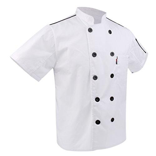 P Prettyia 2x Unisex Atmungsaktive Kochjacke Bäckerjacke mit Knöpfe Koch Arbeitsjacke Kochhemd Küche Arbeitskleidung XL - 6