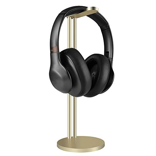 Geekria Headphone Stand Holder, AluminiumAlloy Gaming Headset Earphone Rack Desktop Mounted HeadsetHolder Support for All Headphone Sizes (Champagne Gold)
