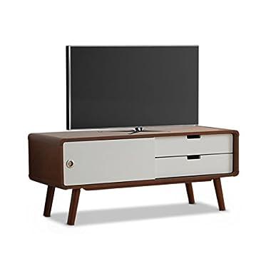 Baxton Studio Armani Mid-Century Modern Two-Tone Finish 2-Drawer with Sliding Door Wood TV Cabinet, Dark Walnut/White