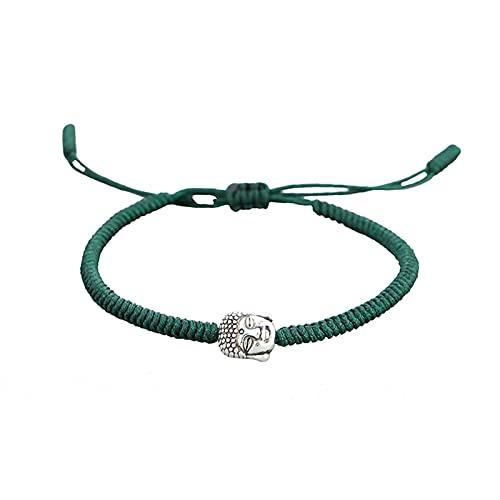 5 COLORSTIBETAN Pulsera de la perla de la oración budista en la mano Estilo étnico de la mano Cuerda de nudo afortunado for mujeres Hombres Amuleto Joyería Regalo Guardiatura Off Mal Spirits Dinero Di