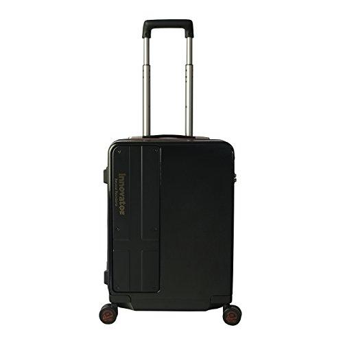 [イノベーター] スーツケース ハードキャリー ジッパー | 38L | 2.8kg | TSAダイアルロック | 双輪キャスター | ポーチ(3点セット) 付 | 保証付 52 cm ヘアラインブラック/マットブラック