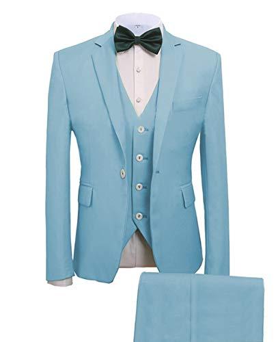 Zeattall Men's Suits Blazers with Vest Pants 3 Pieces Groom Male Wedding Prom Suit(42 Regular,Teal)